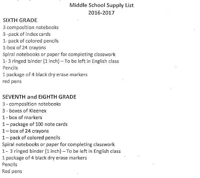 Wellington-Napoleon R-IX - 2016-2017 School Supply Lists